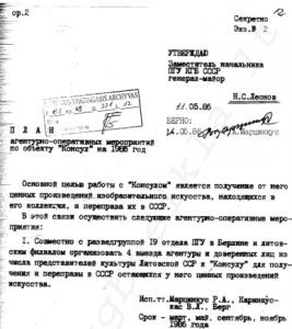 slaptas 1985 m. KGB veiksmų planas