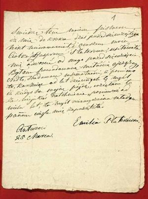 1831 m. kovo 25 d. Emilija Pliaterytė Antazavėje parašė prisijungianti prie sukilimo
